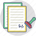 contract agreement, notary public, legal document, payment agreement icon