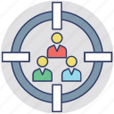 crm, focus group, target customer, target people, team building icon