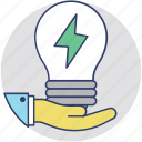 abilities, challenges, creative think, hand bulb, skills icon