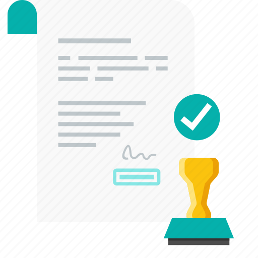 approval, approve, contract, deal, document, paper, stemp icon