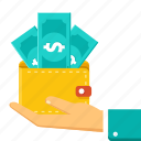 business, cash, dollar, financial, money, savings, wallet icon