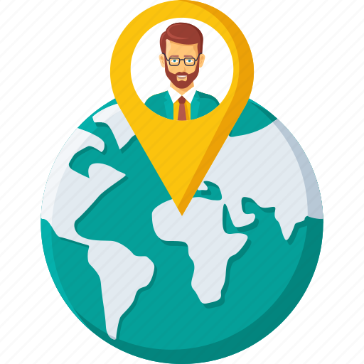 business, earth, global, location, navigation, office, pin, world icon