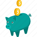 banck, business, coin, finance, money, piggy, save, savings icon