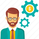 business, businessman, financial, gear, money, settings icon