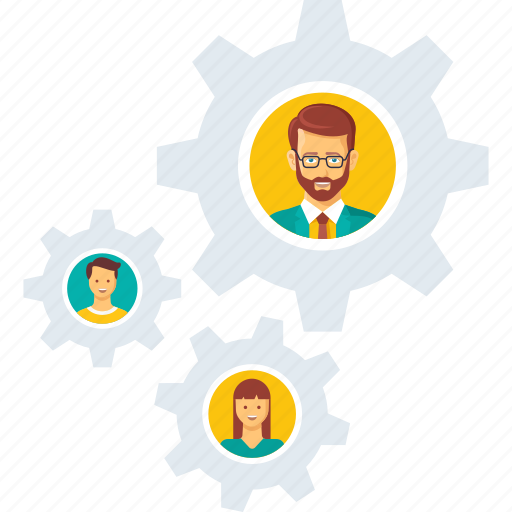 building, business, gear, group, people, team, work, working icon