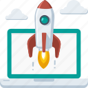 boost, business, company, laptop, launch, online, rocket, startup icon