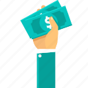 business, cash, dollar, finance, hand, money, pay, payment icon