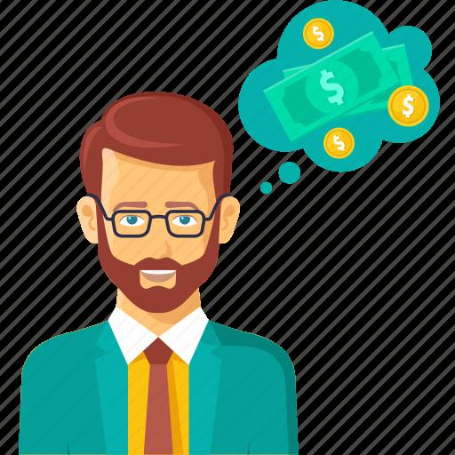 brainstorm, business, finance, imagine, money, payment, think icon