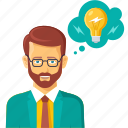 brainstorm, bulb, business, businessman, creative, idea, innovation icon