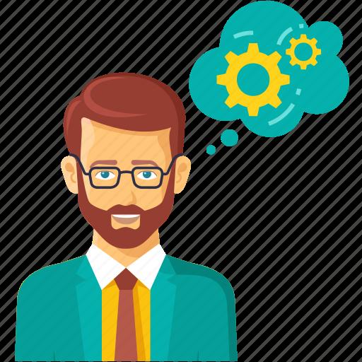 brian, businessman, grear, management, marketing, process, think icon