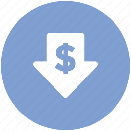 commerce, currency, currency value, dollar, finance, pointing down, saving icon