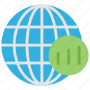 analytics, arrow, business, chart, globe, growth icon