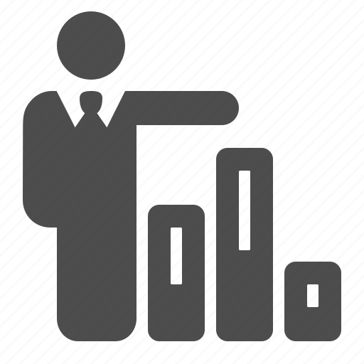 business, businessman, chart, graph, man icon