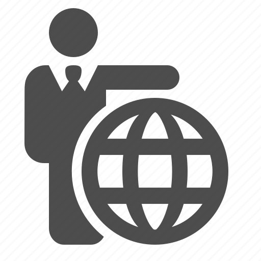 business, businessman, globe, internet, man, web icon