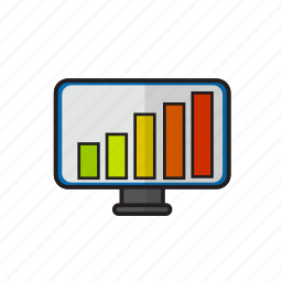 blooming, business, chart, monitor icon