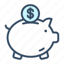 bank, cash, currency, guardar, money, piggy, save icon