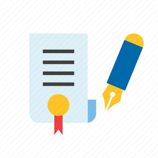 business, certificate, diploma, fountain pen, paper icon