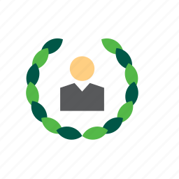 business, employee, man, month, people, worker, wreath icon