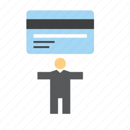 bank, business, credit card, finance, man, people icon
