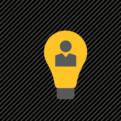 bulb, business, finance, idea, light, lightbulb, man icon
