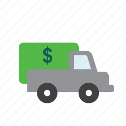 bank, business, dollar, finance, money, transport, truck icon