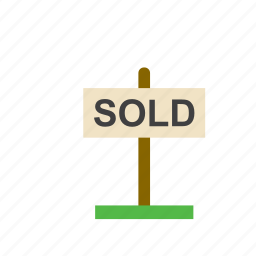 business, real estate, sign, sold icon