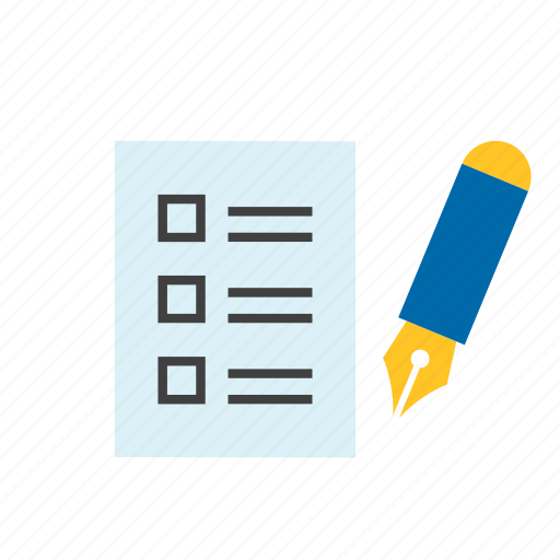 check, document, fountain pen, list, paper icon