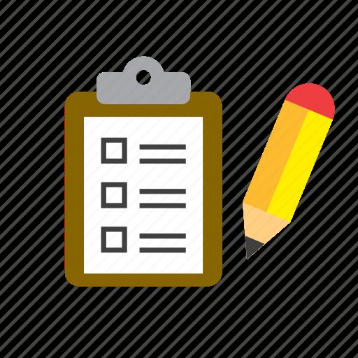 check, document, list, paper, pencil icon