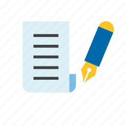 document, fountain pen, paper, text icon