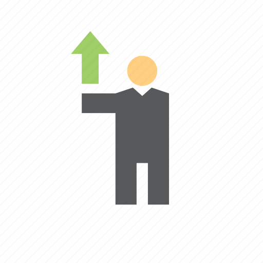 arrow, business, finance, man, people, up icon