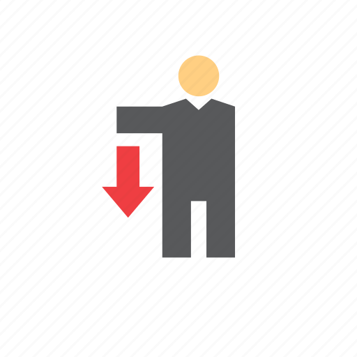arrow, business, businessman, down, finance, man, people icon