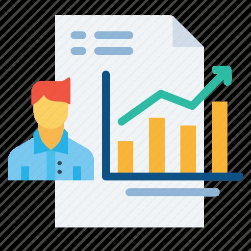 analytics, employee, growth, performance, report, self icon