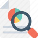 analysis, analytics, magnifier, pie graph, report icon
