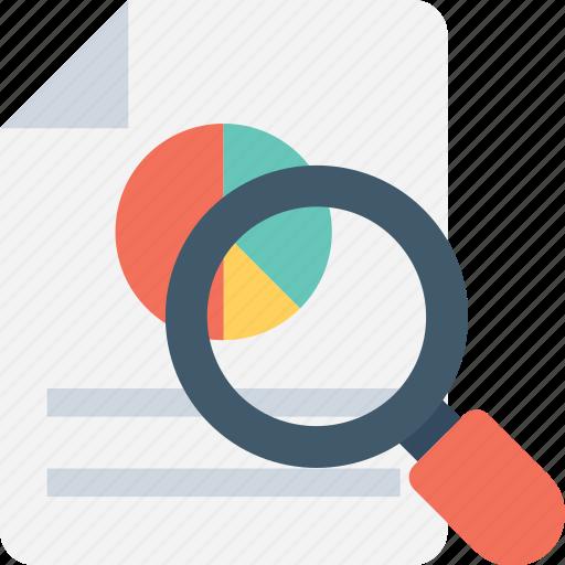 analysis, analytics, magnifier, pie graph, report icon