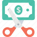 cut price, discount, dollar, loss, scissor icon