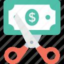 discount, loss, dollar, cut price, scissor