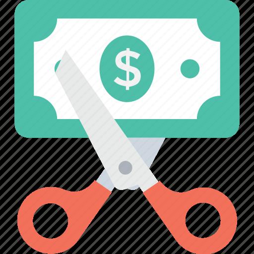 cut price, discount, dollar, loss, scissor icon