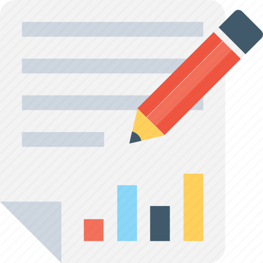 analytics, bar chart, graph report, pencil, report icon