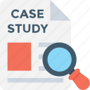 analysis, case study, magnifier, marketing, research icon