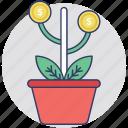 business growth, dollar plant, profit, business plant, business success icon