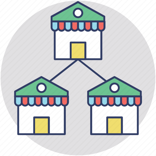 chain businesses, chain stores, franchises, retail chain, retail outlets icon