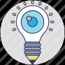 bright ideas, bulb pencil, creativity, ideas inspiration, innovation icon
