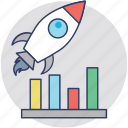 business growth, business startup, business launch, new business, project launch icon