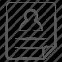 biodata, curriculum vitae, cv, profile, resume