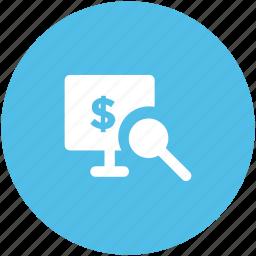 business analytics, data analytics, graph analysis, magnifying glass, statistics icon