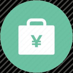 bag, banknote bag, briefcase, business bag, currency bag, japanese yen, yen case icon