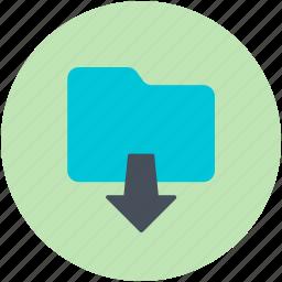 data storage, down arrow, file storage, folder downloading, save folder icon
