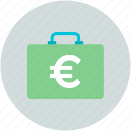 briefcase, cash bag, currency bag, euro bag, finance, money bag icon