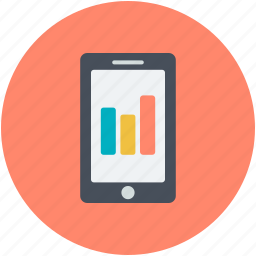 mobile charts, mobile phone, online analytics, online graphs, online infographics icon