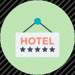 hanging board, hotel board, hotel sign board, info board, signboard icon